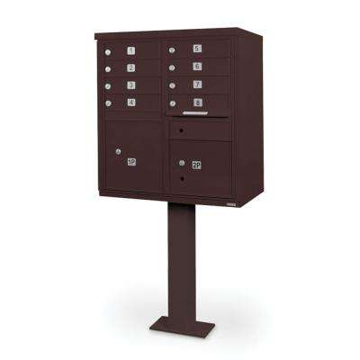 8-Compartment Mailbox CBU with Pedestal in Bronze