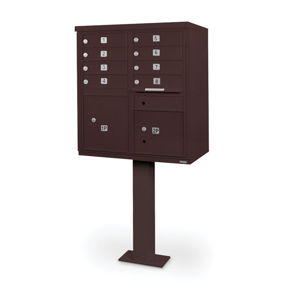 8-Compartment Mailbox CBU with Pedestal in Bronze