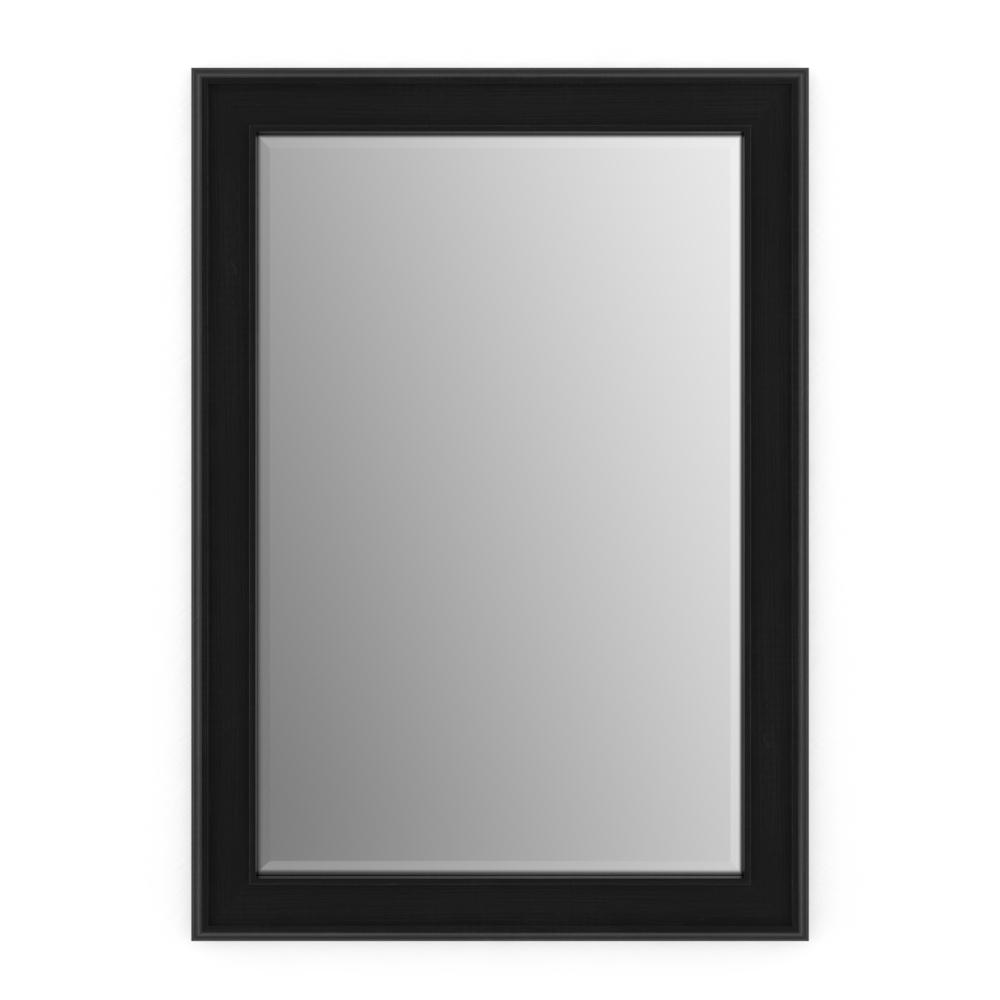 33 in. x 47 in. (L1) Rectangular Framed Mirror with Deluxe Glass and Flush Mount Hardware in Matte Black
