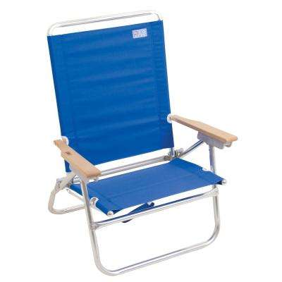 4-Position Easy In - Easy Out Blue Aluminum Beach Chair with Hardwood Armrests