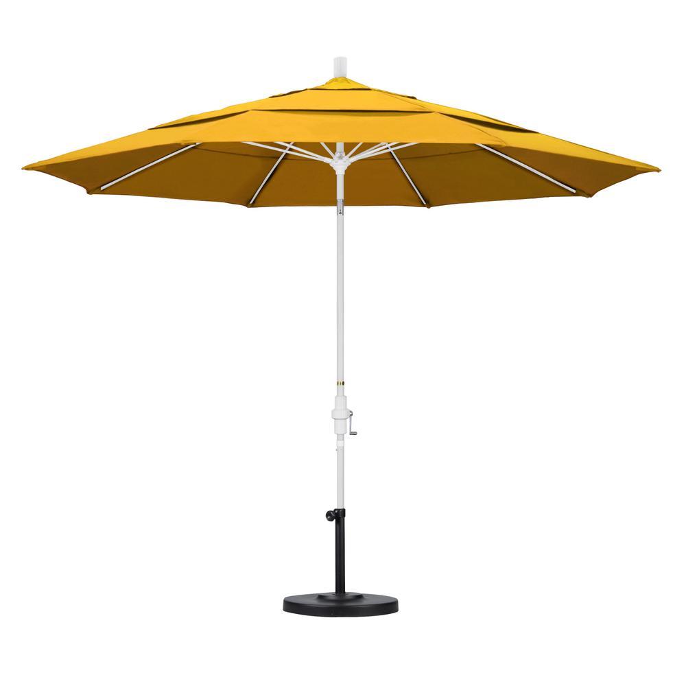 11 ft. Fiberglass Collar Tilt Double Vented Patio Umbrella in Yellow