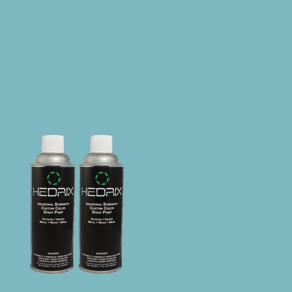 Hedrix 11 oz. Match of 530D-5 Riverside Blue Semi-Gloss Custom Spray Paint (2-Pack)