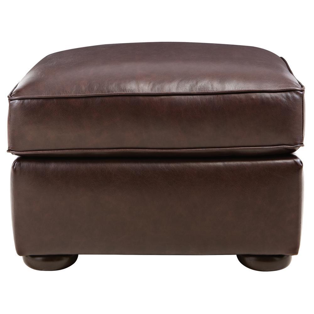 Alwin Chocolate Italian Leather Ottoman