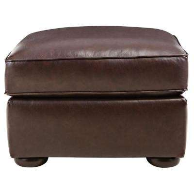 Alwin Chocolate Italian Leather Ottoman