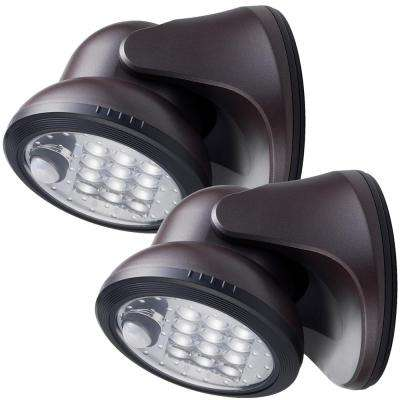 12-Light Bronze Motion Activated Outdoor Integrated LED Wireless Area Light (2-pack)