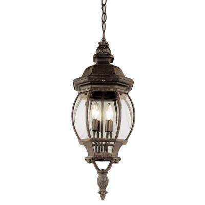 4-Light Outdoor Rust Hanging Lantern With Beveled Glass