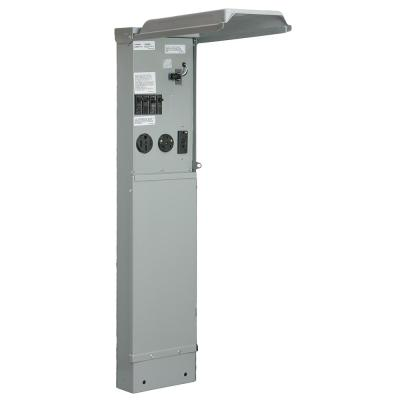 RV Pad Mount Pedestal with 50 Amp and 30 Amp RV Receptacles, 20 Amp GFCI Receptacle, and Photocell Light