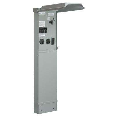 RV Pad Mount Pedestal with 100 Amp 120/240-Volt Panel with 50, 30 and 20 Amp GFCI Receptacle and Photocell Light