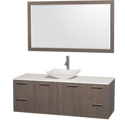 Amare 60 in. Vanity in Gray Oak with Solid-Surface Vanity Top in White, Marble Sink and 58 in. Mirror