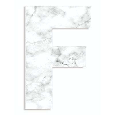 """12 in. x 18 in. """"Modern White and Grey Marble Patterned Initial F"""" by Artist Daphne Polselli Wood Wall Art"""