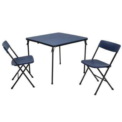 3-Piece Dark Blue Fold-in-Half Folding Table Set