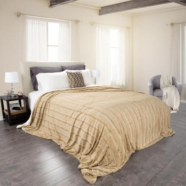 Taupe Polyester Fleece/Sherpa King Blanket
