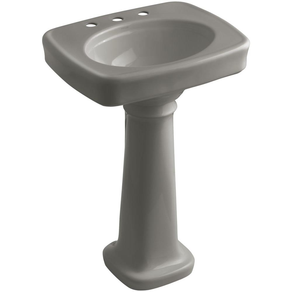 KOHLER Bancroft Vitreous China Pedestal Combo Bathroom Sink In Cashmere  With Overflow Drain