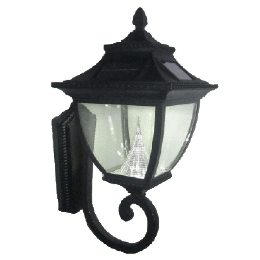 Pagoda Solar Black Outdoor Wall Lantern