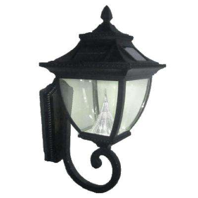 Black solar powered outdoor wall mounted lighting outdoor pagoda solar black outdoor wall lantern aloadofball Choice Image