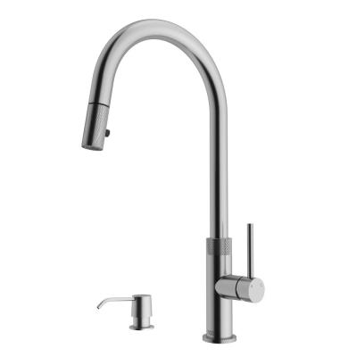 Bristol Single-Handle Pull-Down Sprayer Kitchen Faucet with Soap Dispenser in Stainless Steel