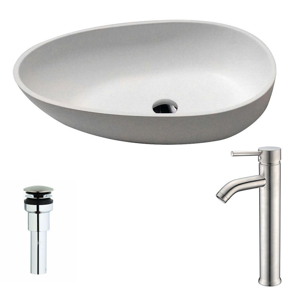 Trident 1-Piece Man Made Stone Vessel Sink in Matte White with
