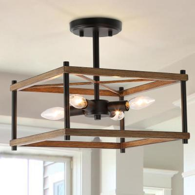 Eniso Open Square Cage 12.5 in. 4-Light Black Modern Farmhouse Semi Flush Mount Ceiling Light with Painted Wood Accents