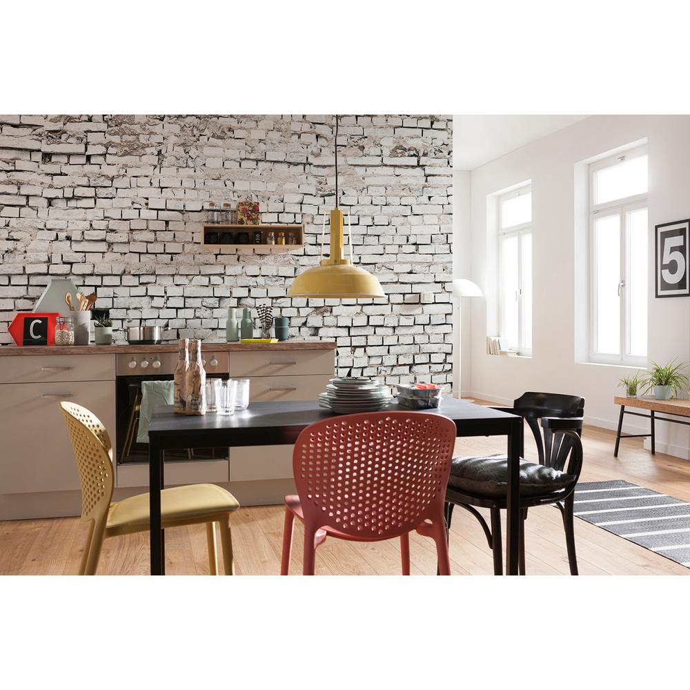 Komar Abstract White Brick Wall Mural