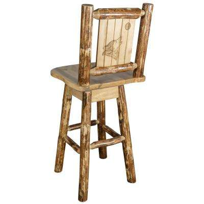 Glacier 30 in. Laser Engraved Wolf Motif Swivel Bar Stool