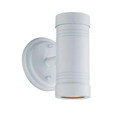 Cylinders Collection 1-Light White Outdoor Wall Mount Light