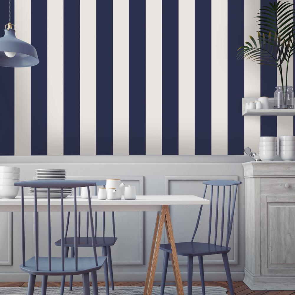 Mini Stripes Navy Self-Adhesive Removable Wallpaper
