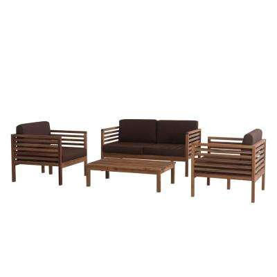 Anthony 4-Piece Wood Patio Seating Set with Brown Cushions