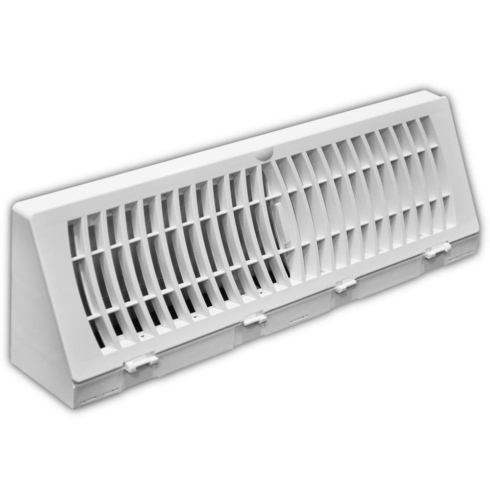 15 in. White Plastic Baseboard Diffuser Supply