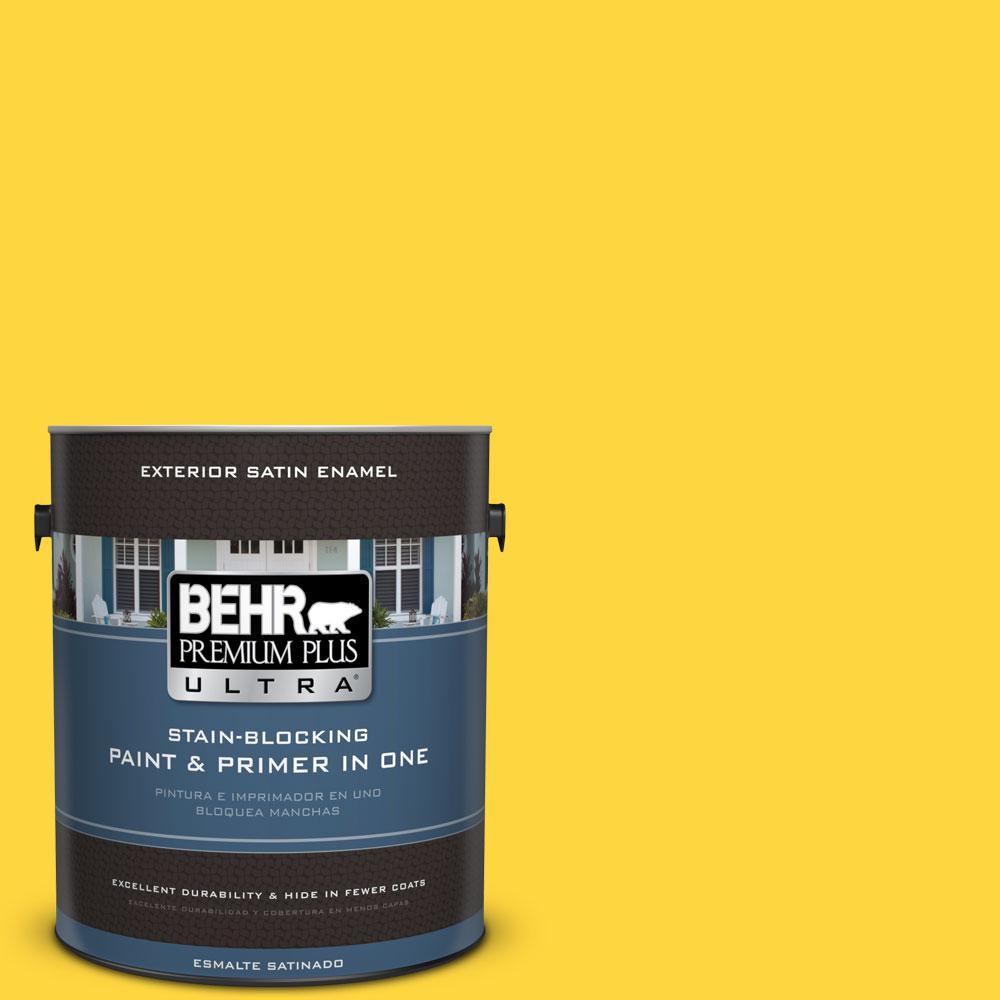 1-gal. #380B-6 Lemon Tart Satin Enamel Exterior Paint
