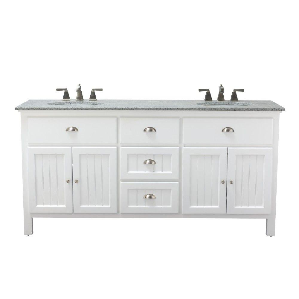 Home decorators collection ridgemore 71 in w x 22 in d double bath vanity in white with - Double bathroom vanities granite tops ...