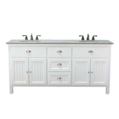 Ridgemore 71 in. W x 22 in. D Double Bath Vanity in White with Granite Vanity Top in Grey