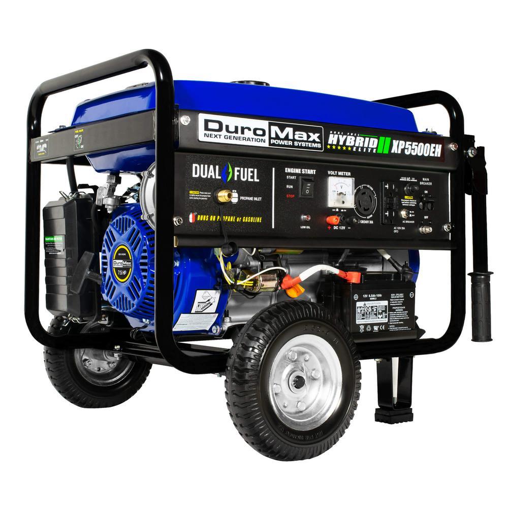 5500/4500-Watt 7.5 HP Dual Fuel Gasoline/Propane Electric Start Powered Portable Generator with Wheel Kit