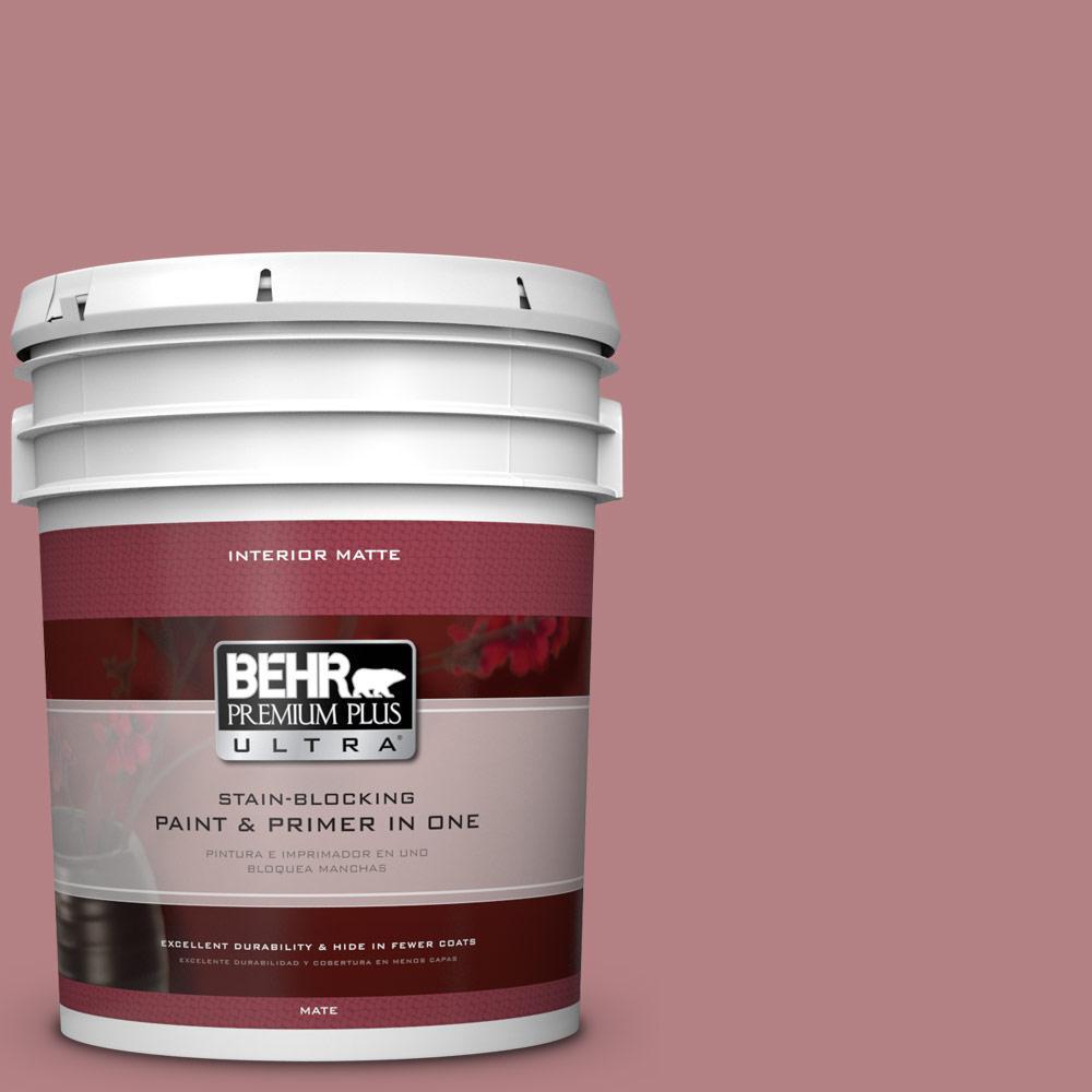 BEHR Premium Plus Ultra 5 gal. #T14-15 Minuet Rose Flat/Matte Interior Paint