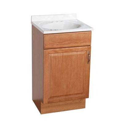 18 in. Vanity in Oak with AB Engineered Composite Vanity Top in White with White Basin