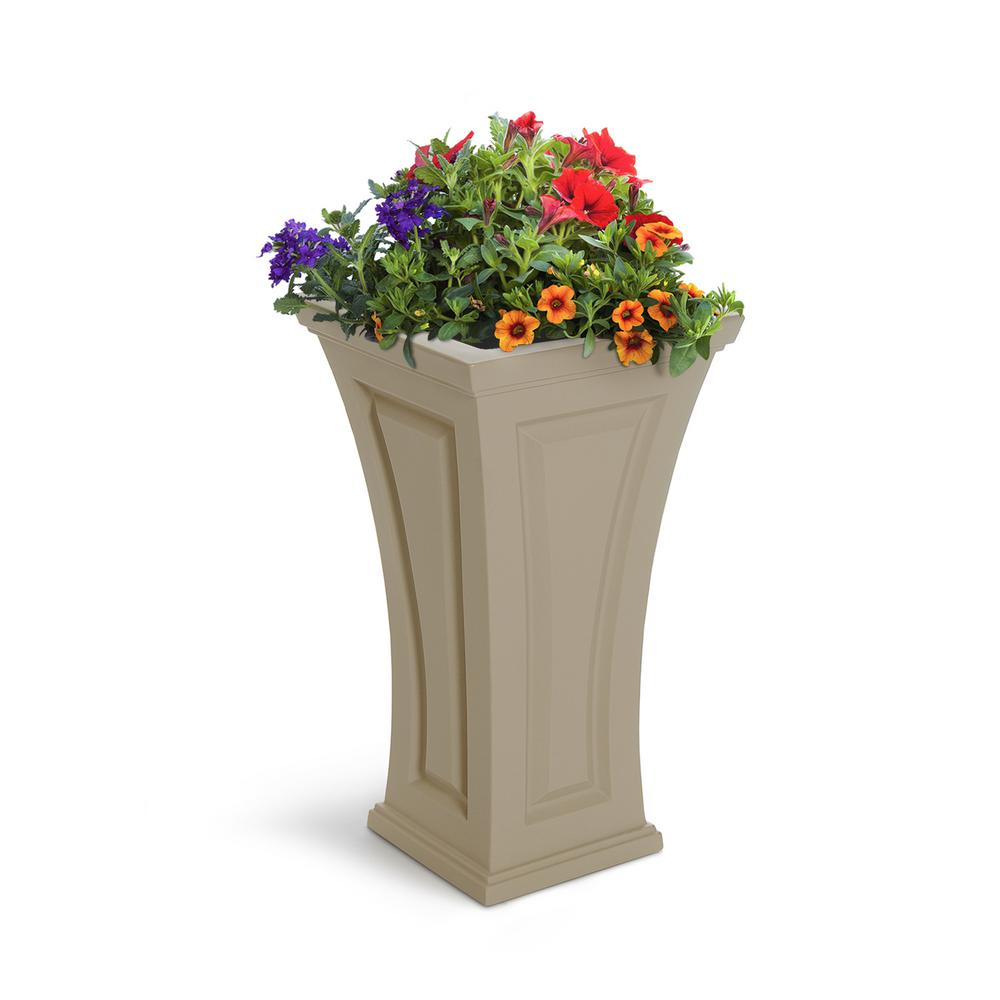 Mayne Cambridge 16 in. Square Clay Plastic Column Planter