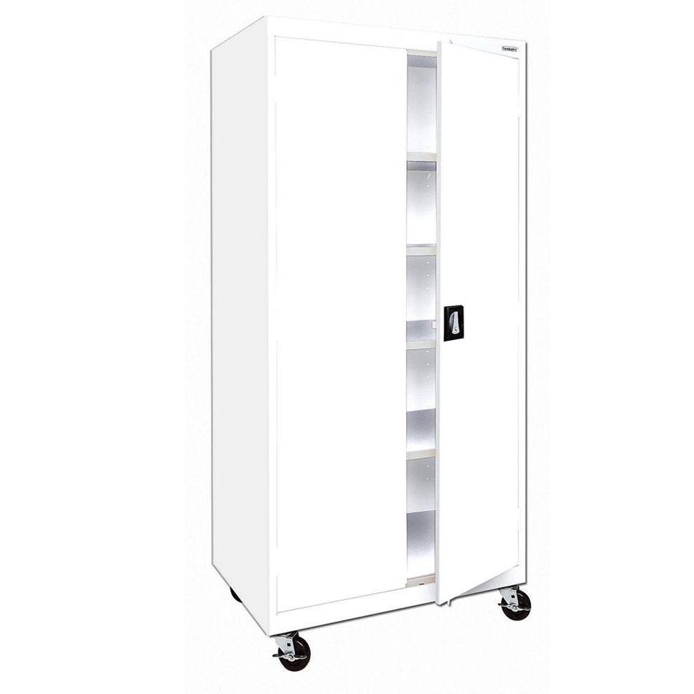 Sandusky 72 in. H x 36 in. W x 24 in. D 5-Shelf Steel Antimicrobial Freestanding Mobile Cabinet in White