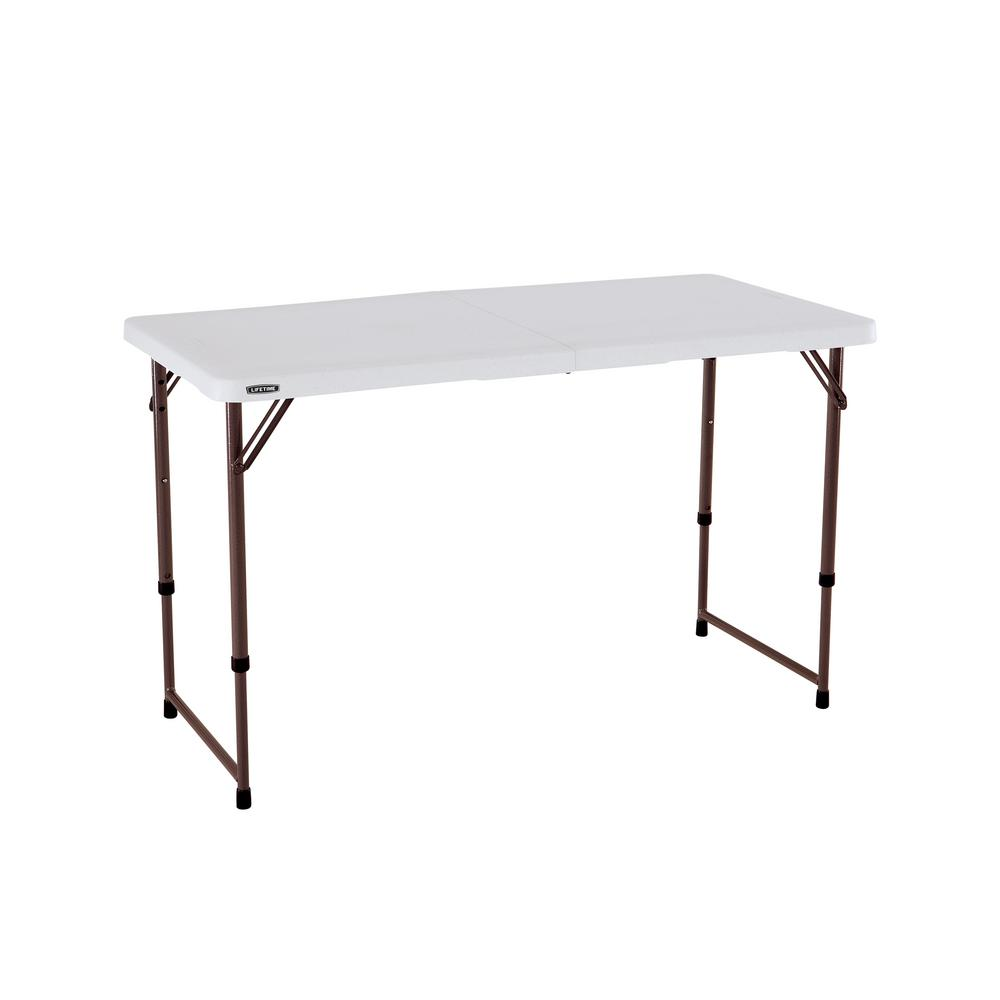 Ordinaire Almond Plastic Adjustable Height Folding High Top Table