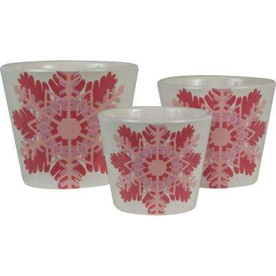 Snowflake 6.5 in. Dia, 5.5 in. Dia and 4.5 in. Dia Paradise Pink Ceramic Pot (Set of 3)
