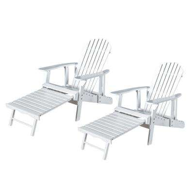 Oakley White Reclining Wood Adirondack Chair with Footrest (2- Pack)