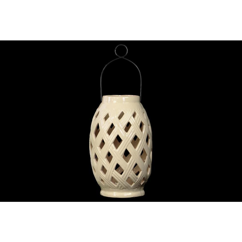 White Candle Ceramic Decorative Lantern