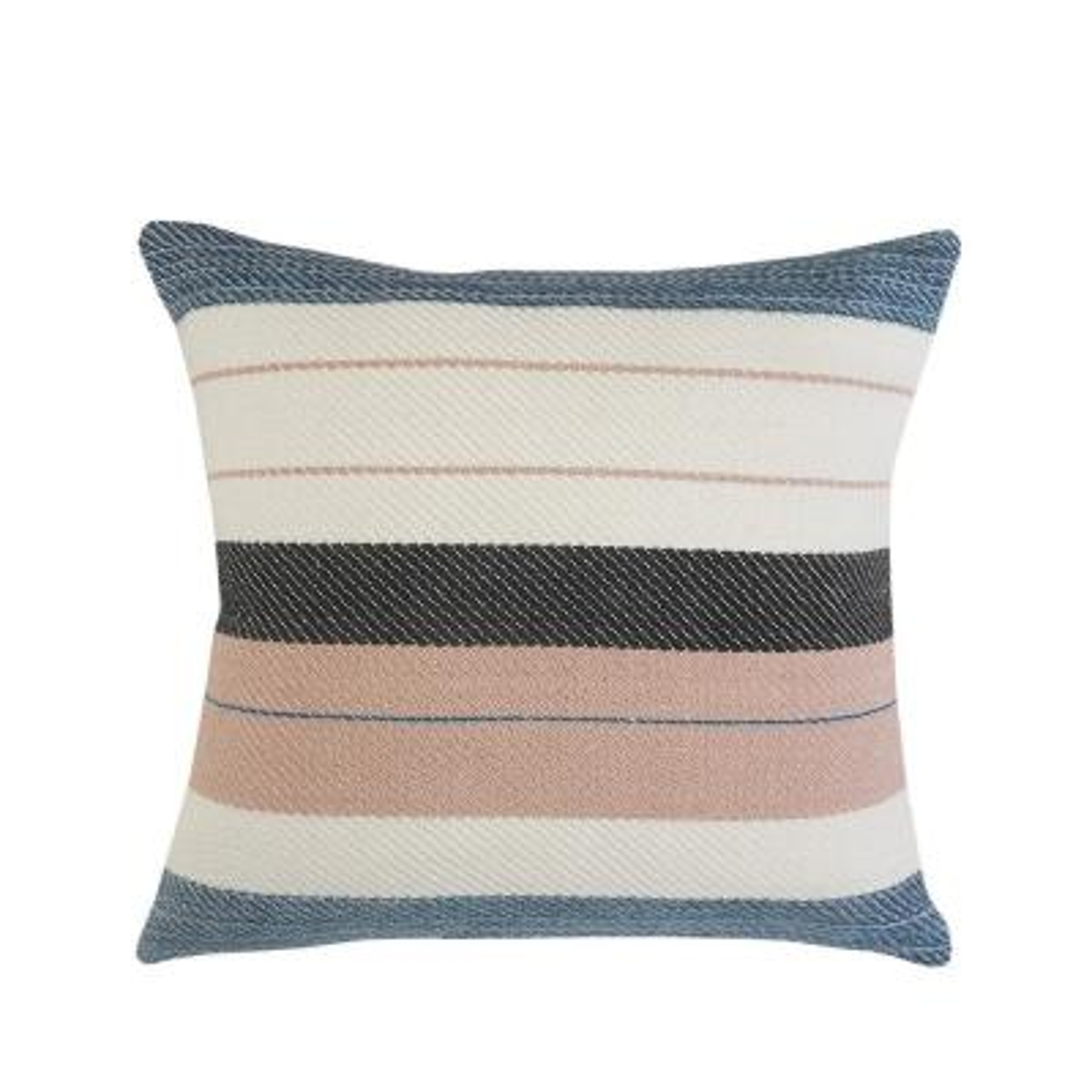 Mid-Century Multi-Colored Stripe Square Outdoor Throw Pillow