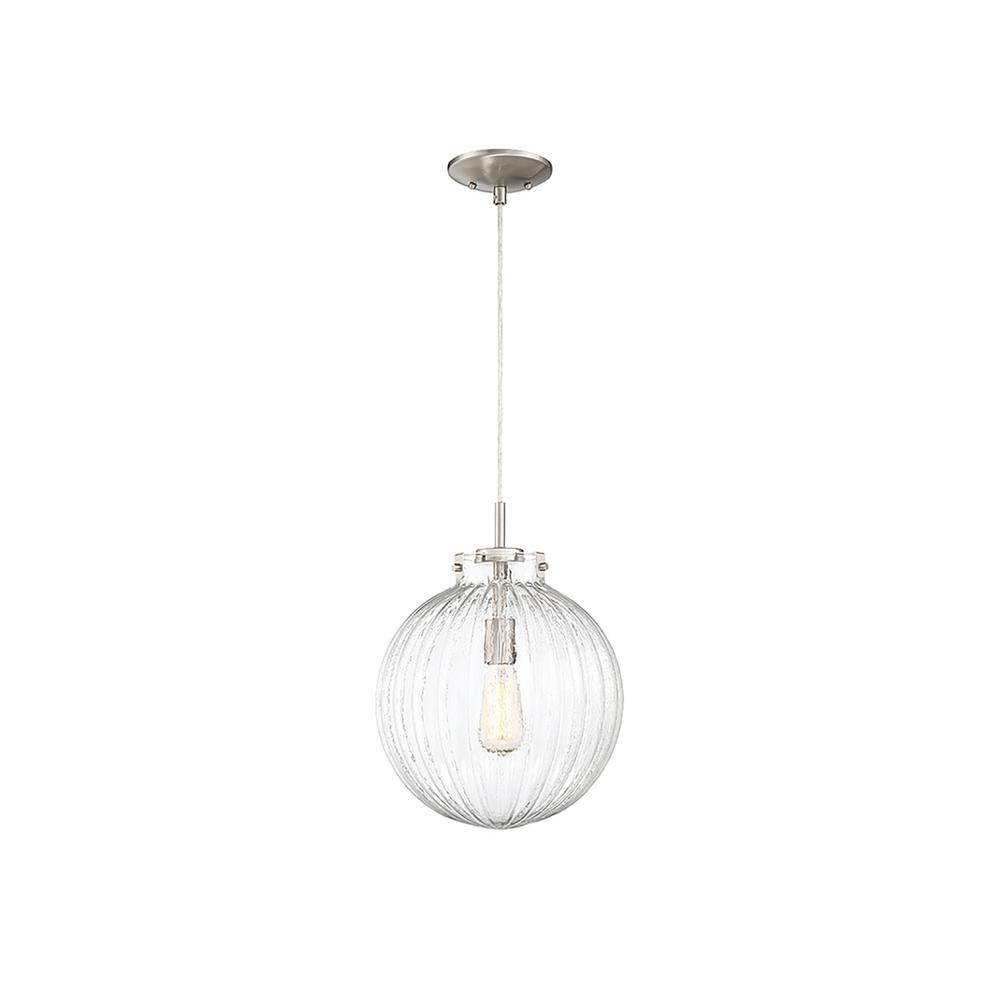 Filament Design 1-Light Brushed Nickel Mini Pendant with Clear Ribbed Glass
