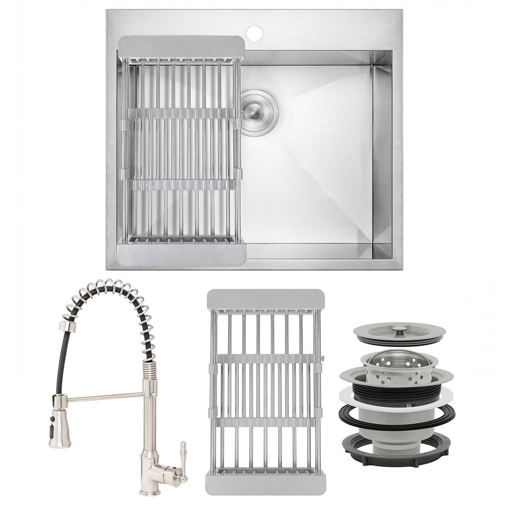 AKDY Handmade All-in-One Drop-in Stainless Steel 25 in. x 22 in. 1-Hole Single Bowl Kitchen Sink with Spring Neck Faucet, Brushed Stainless Steel was $468.0 now $319.99 (32.0% off)