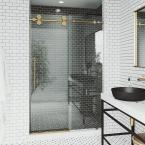 Elan 52 to 56 in. x 74 in. Frameless Sliding Shower Door in Matte Brushed Gold with Handle and Clear Glass