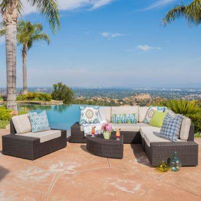 San Vicente Brown 7-Piece Wicker Outdoor Sectional Set with Sunbrella Cushions