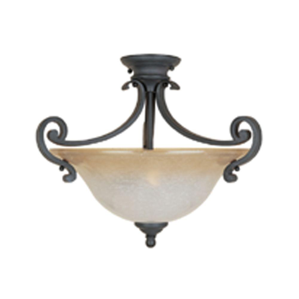 Monte Carlo 2-Light Semi Flush Mount Natural Iron Ceiling Light