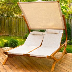 Miraculous Leisure Season 76 In W X 61 In D X 59 In H Brown Double Reclining Wooden Patio Lounge Chair With Canopy And Beige Cushions Drl7157 The Home Depot Creativecarmelina Interior Chair Design Creativecarmelinacom