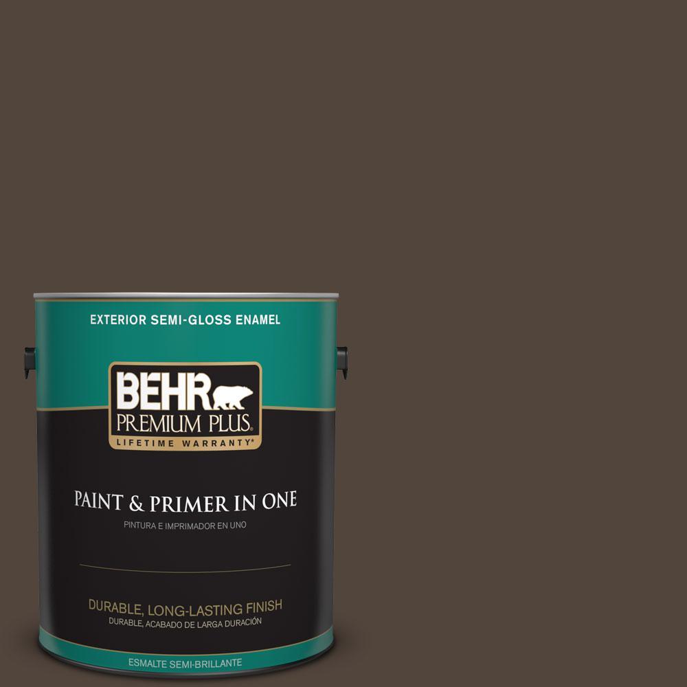 1-gal. #ECC-12-3 Shadow Wood Semi-Gloss Enamel Exterior Paint