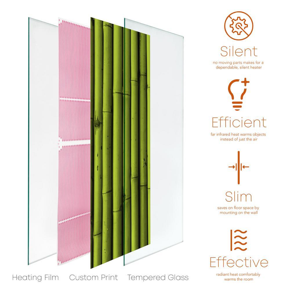 Glass Heater 750-Watt Radiant Wall Hanging Decorative Glass Heat Panel - Bamboo