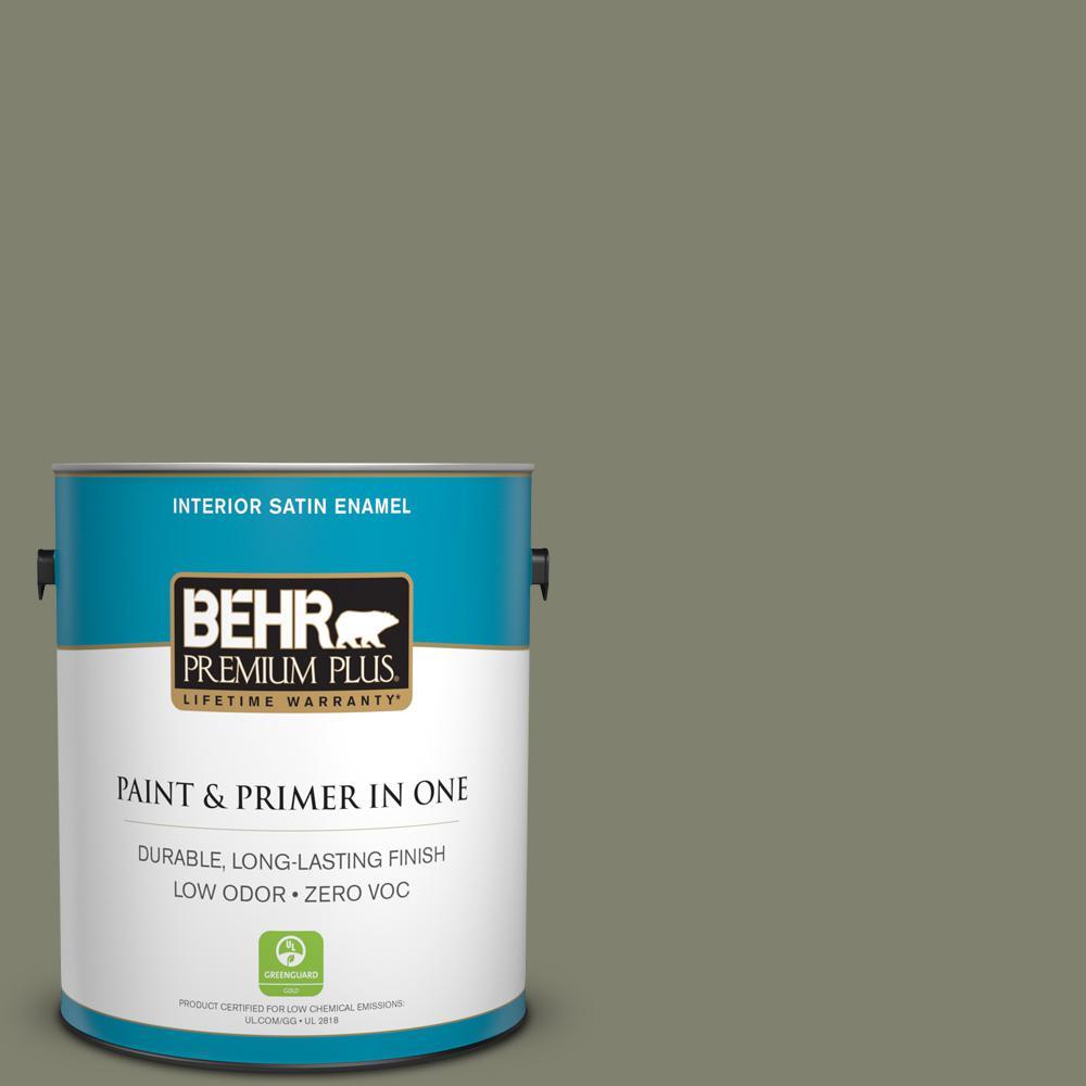 1 gal. #PPU10-18 Lizard Green Zero VOC Satin Enamel Interior Paint